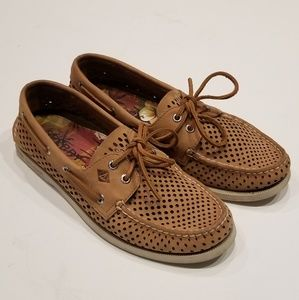 Sperry | Tan Boat Shoes with Cut Outs